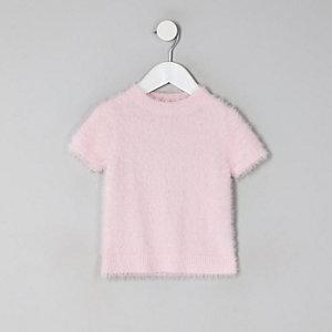 T-shirt en maille duveteuse rose pour mini fille