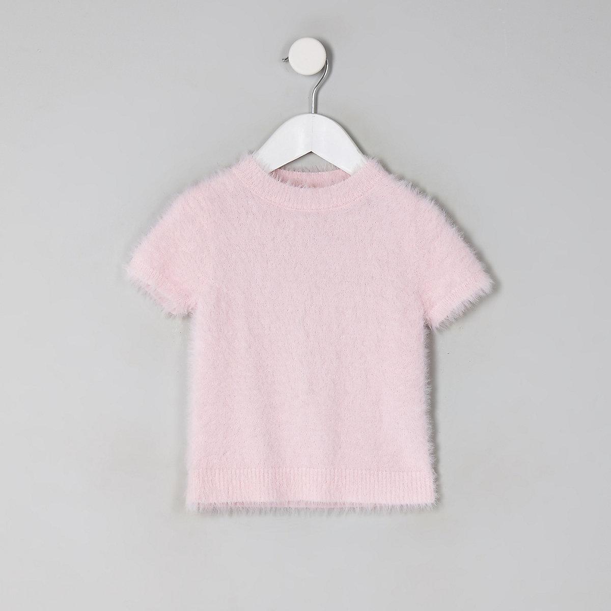 Mini girls pink fluffy knit T-shirt