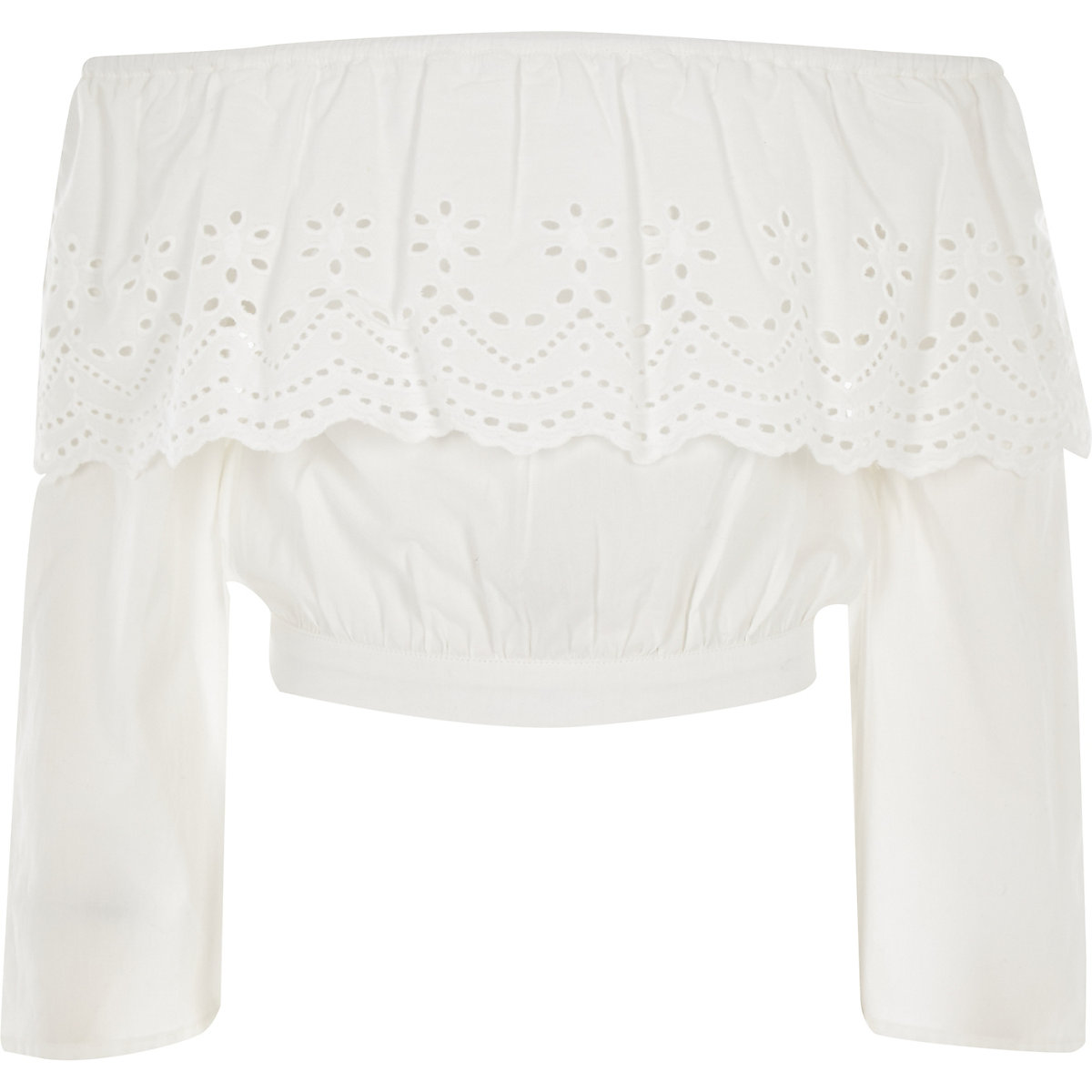 Girls white embroidered bardot crop top