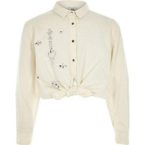 Girls white rhinestone tie front shirt