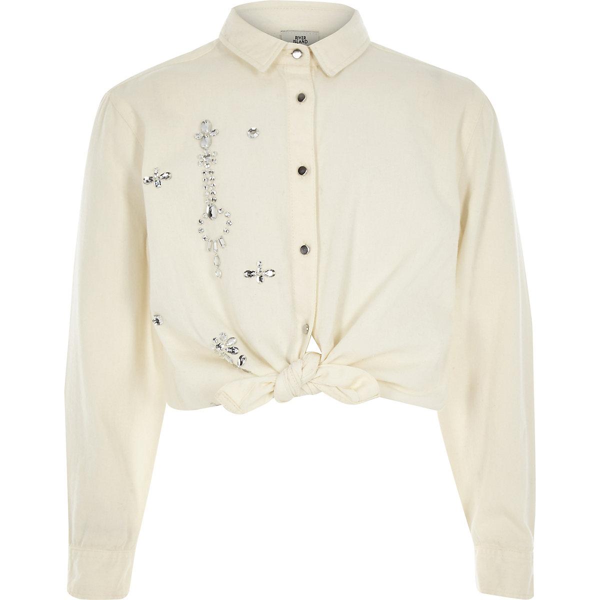 Girls white diamante tie front shirt