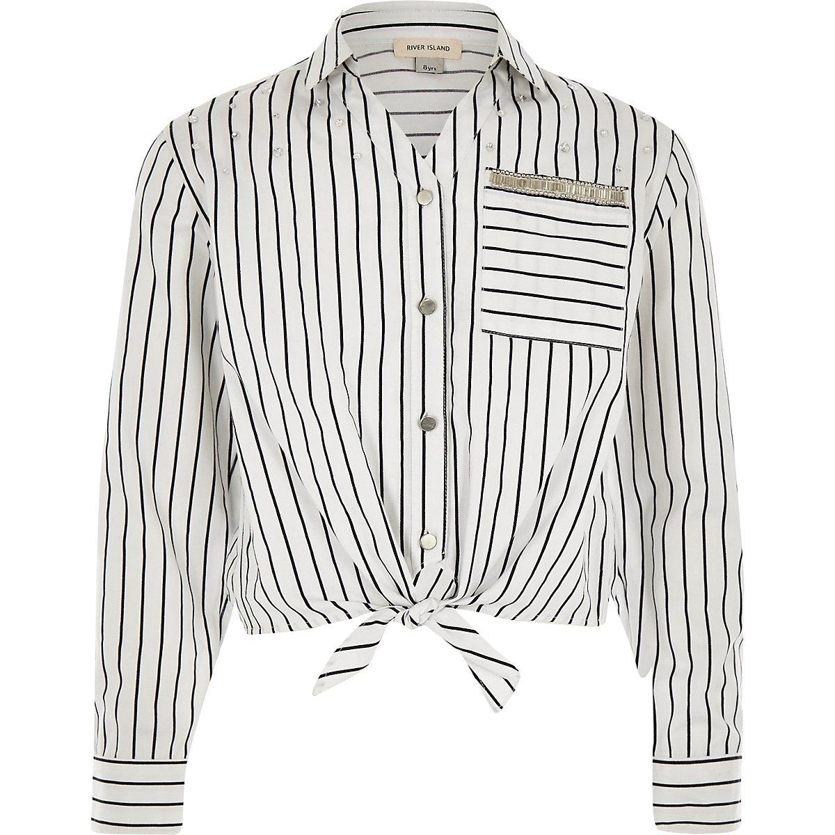 Girls white stripe tie front shirt