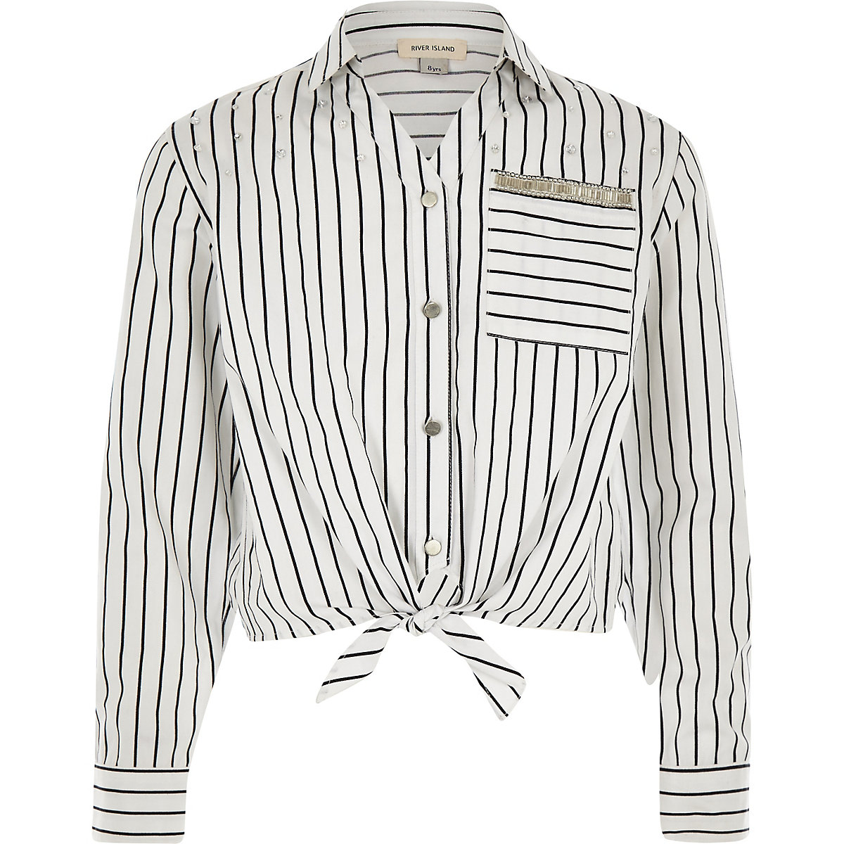 Girls white stripe tie front shirt