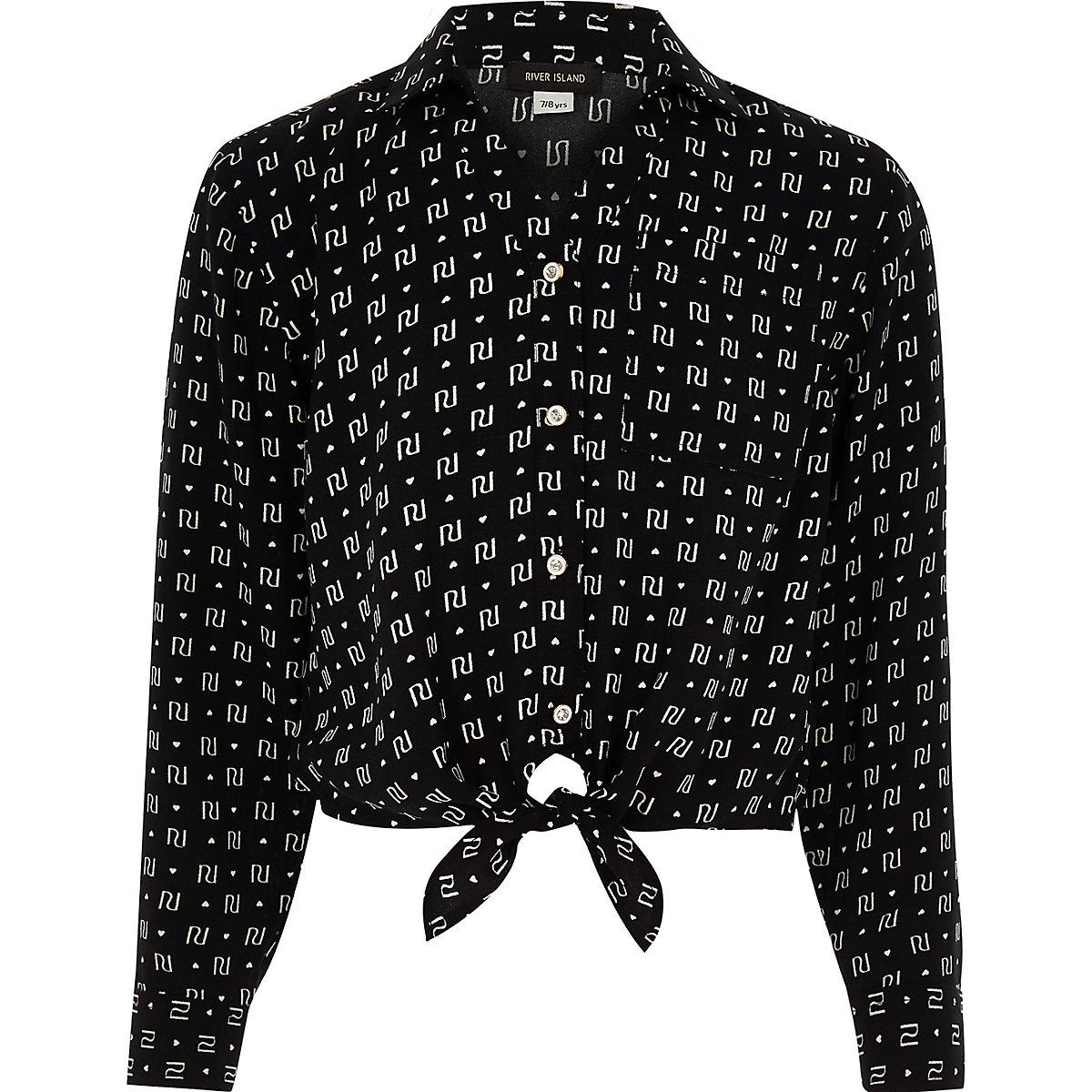Girls black RI monogram tie front crop shirt