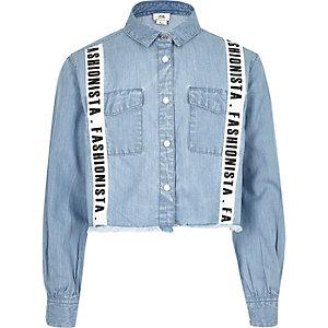 Blauw cropped overhemd met 'Fashionista'-print en bies voor meisjes