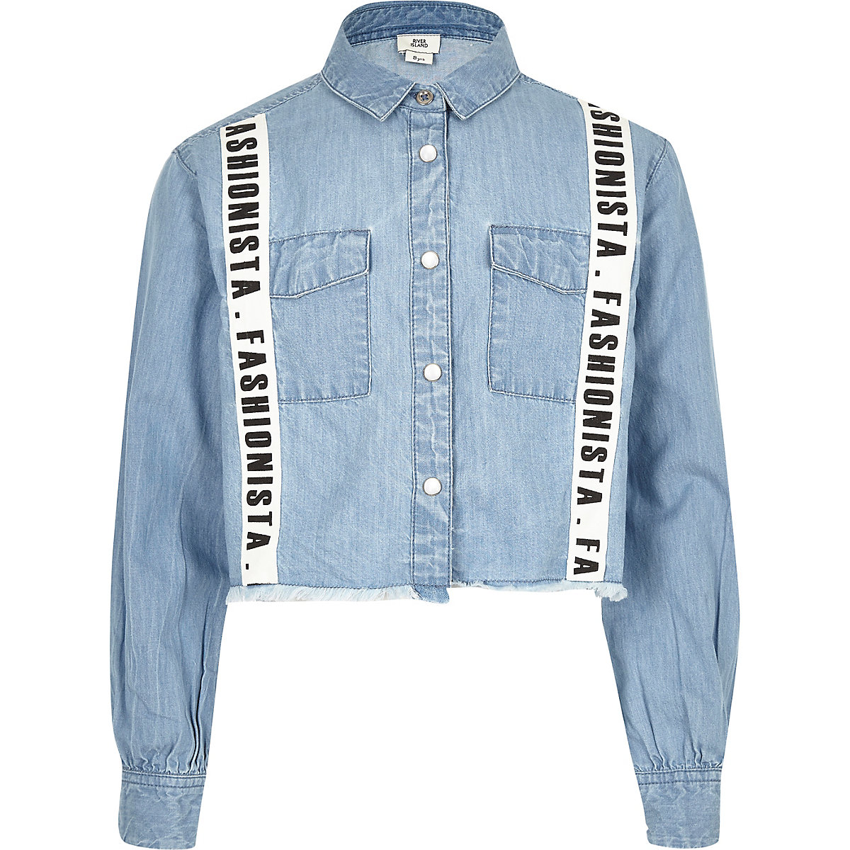 Girls blue 'Fashionista' tape cropped shirt