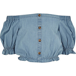 Girls blue denim bardot crop top