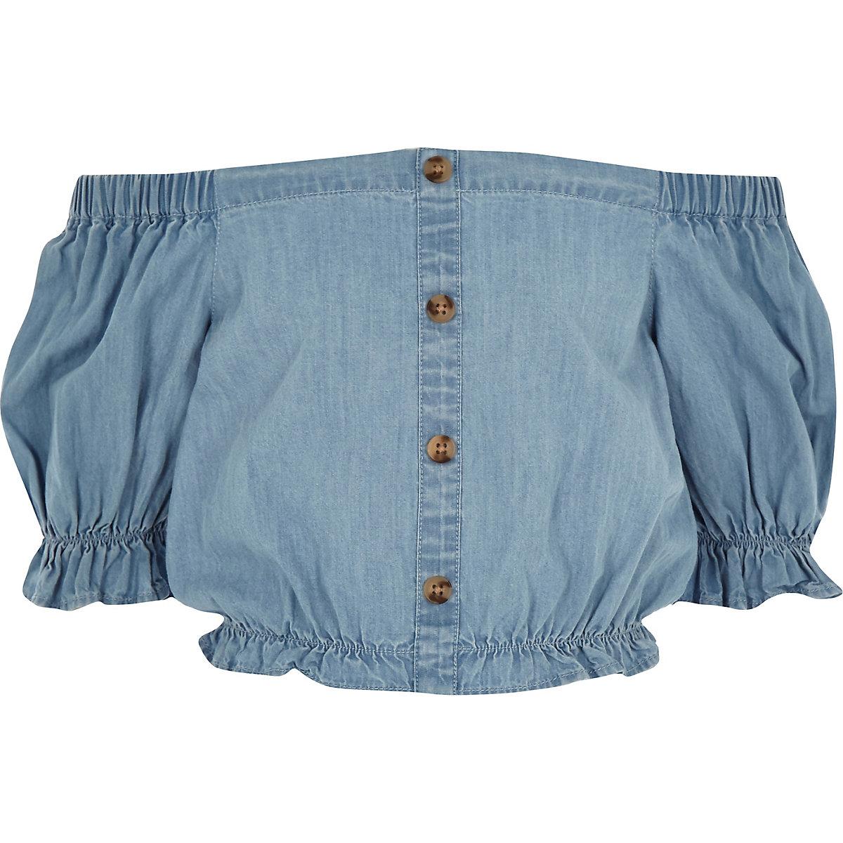 Girls blue denim bardot crop top