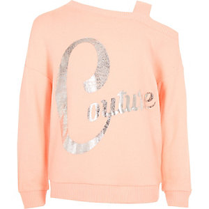 Girls coral 'couture' one shoulder sweatshirt