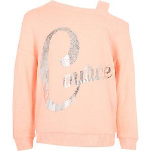Koraalrood sweatshirt met 'couture'-print en één schouderbandje voor meisjes