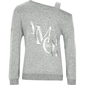 Grey 'Amour' one shoulder sweatshirt