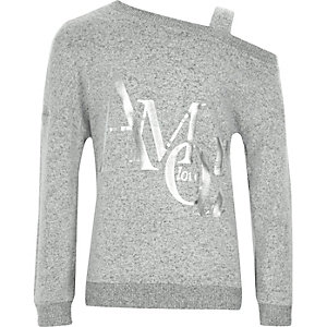 Grijze sweatshirt met blote schouder en 'Amour'-print