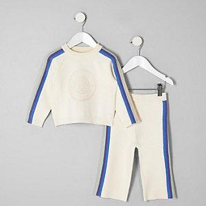 Mini girls cream rainbow wide leg trouser set