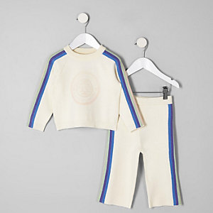 Mini girls cream rainbow wide leg pant set