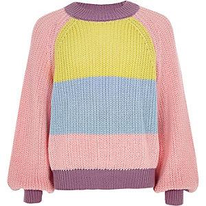 Pinker Pullover in Blockfarben