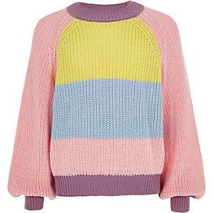 Pull large colour block rose pour fille