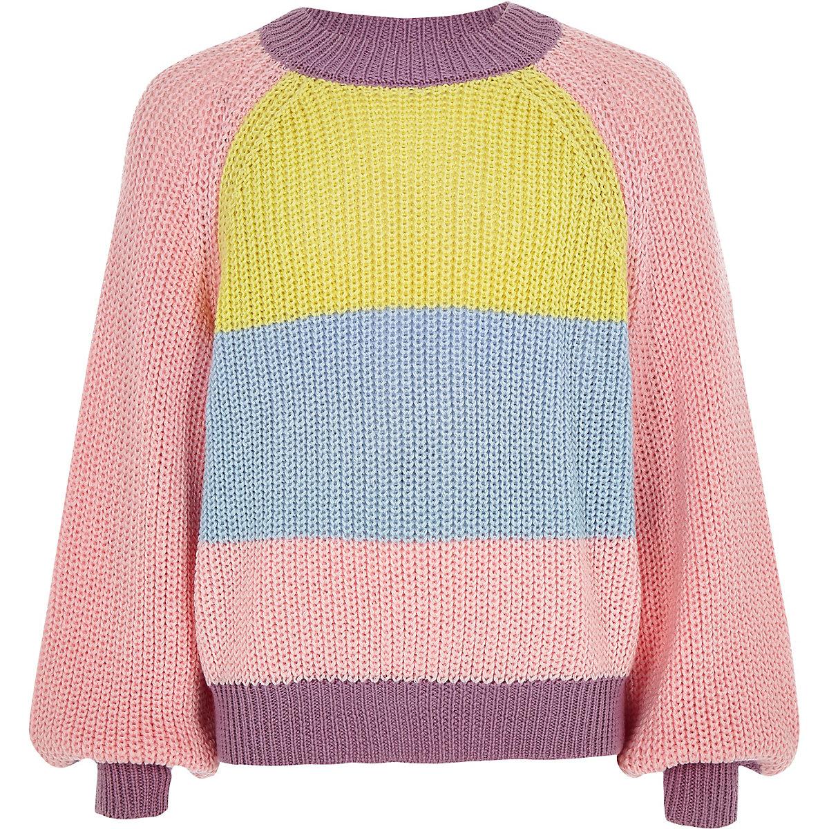 Girls pink colour block slouch jumper