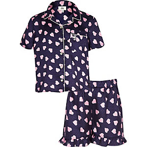 Girls navy heart print pyjama set