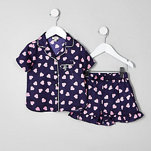 Mini girls navy heart print pyjama set