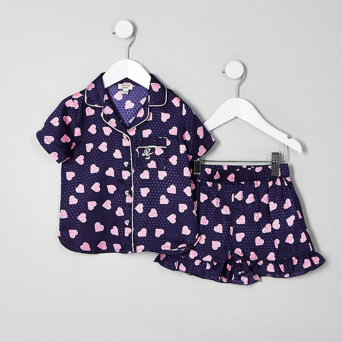Mini girls navy heart print pyjama set
