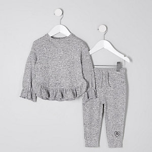 ensemble jogging gris chiné à volants mini fille