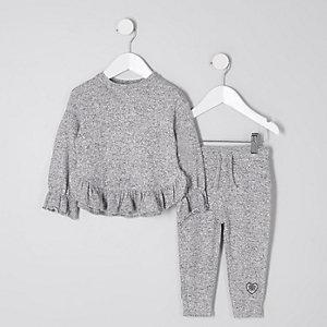 Mini - Set met grijze gemêleerde joggingbroek met ruches langs de zoom voor meisjes
