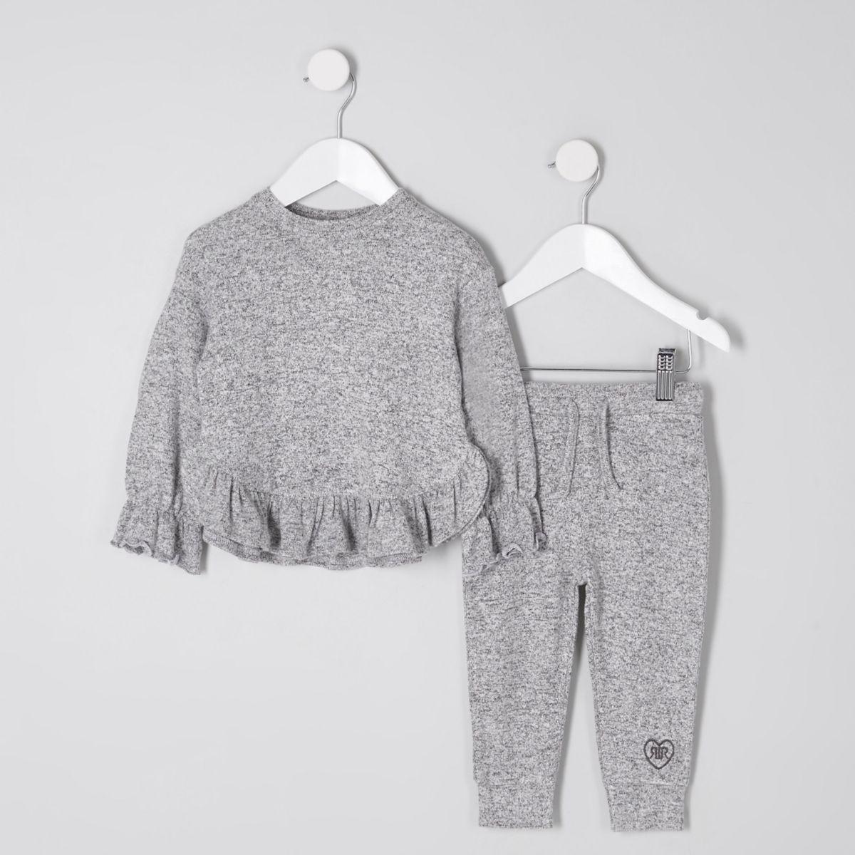 Mini girls grey marl frill hem jogger set