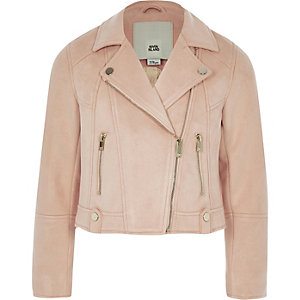 Girls coral faux suede biker jacket