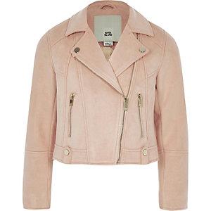 Girls coral faux suede biker jacket