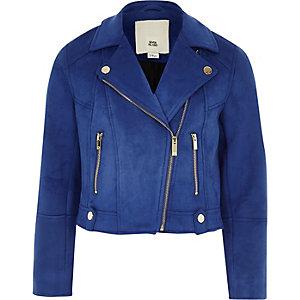 Blauw bikerjack van imitatiesuède voor meisjes
