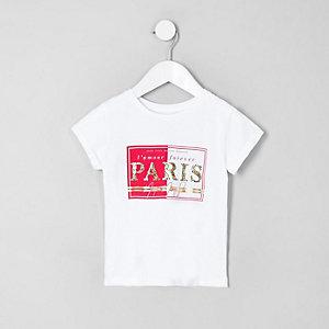 T-shirt à inscription « Paris » léopard blanc mini fille