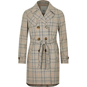 Girls beige check trench coat