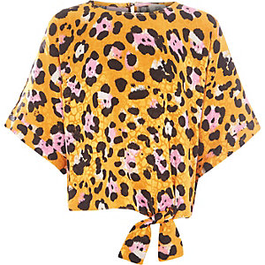 Girls yellow leopard print tie front top
