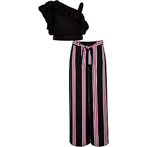 Girls black frill crop top and trouser outfit