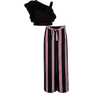 Ensemble pantalon et crop top noir à volants pour fille