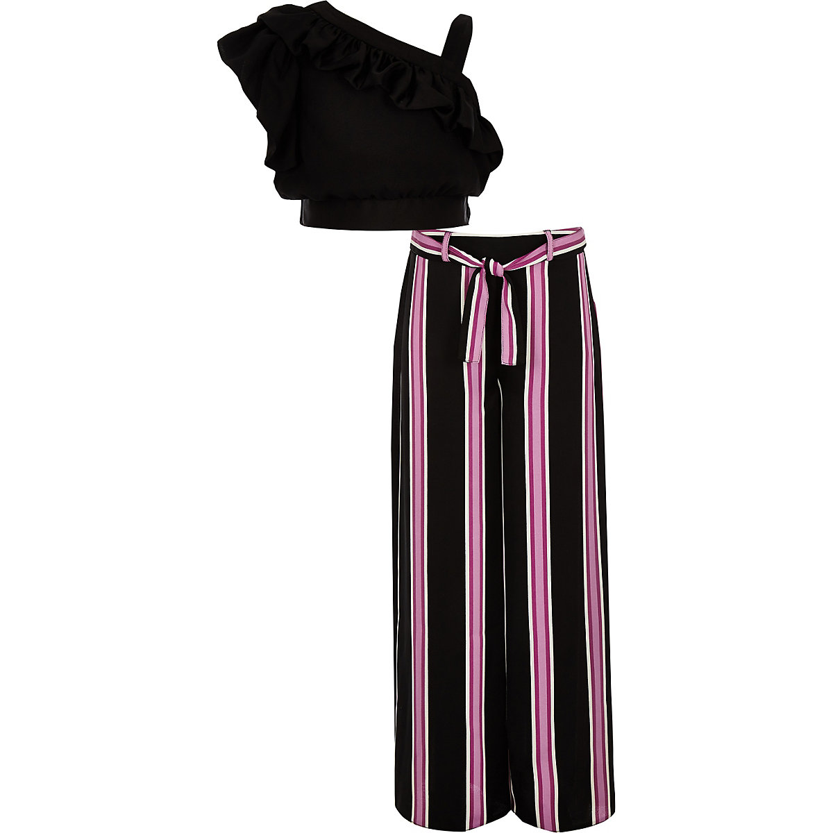 Girls black frill crop top and pant outfit