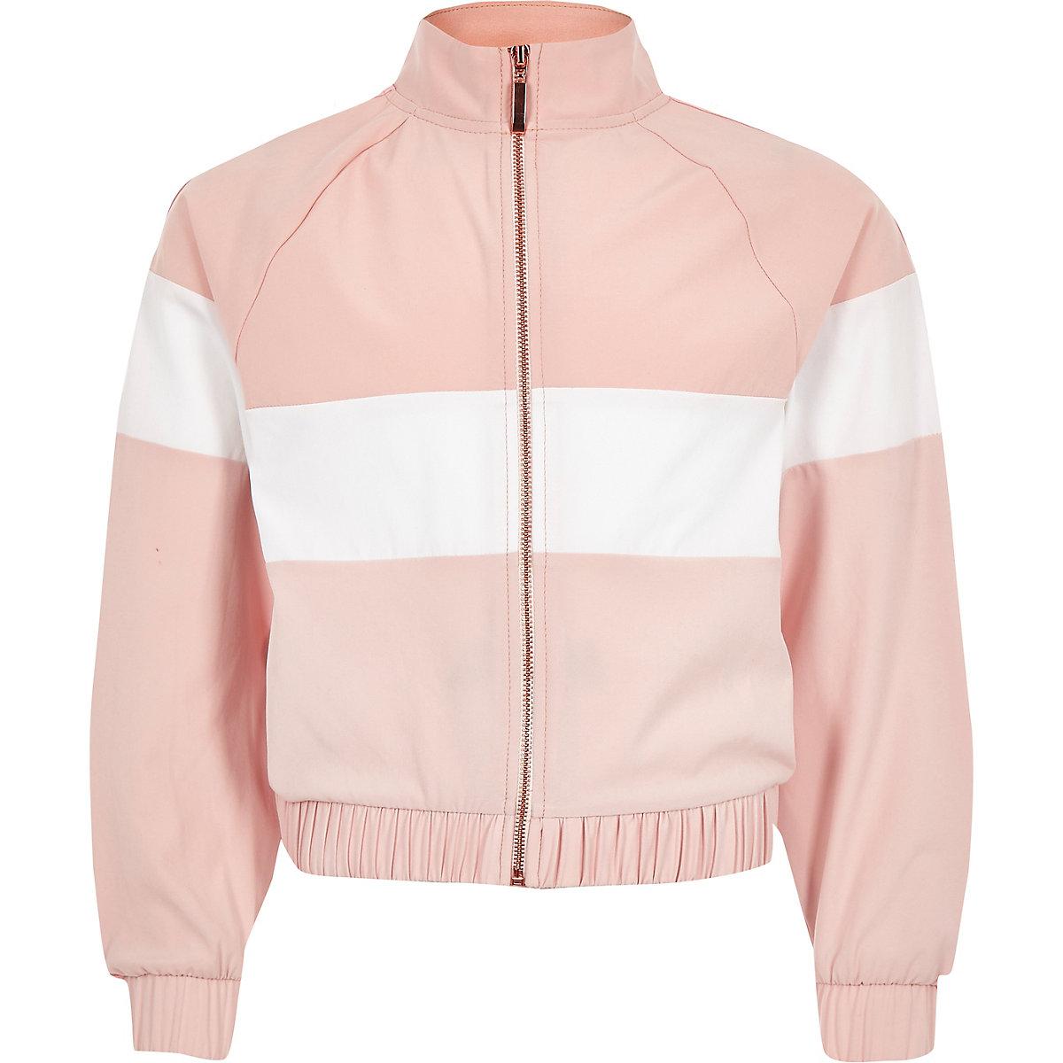 Girls RI Active pink block track jacket