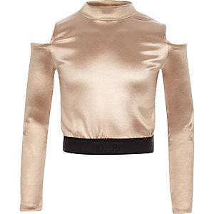 Girls RI Active pink cold shoulder disco top