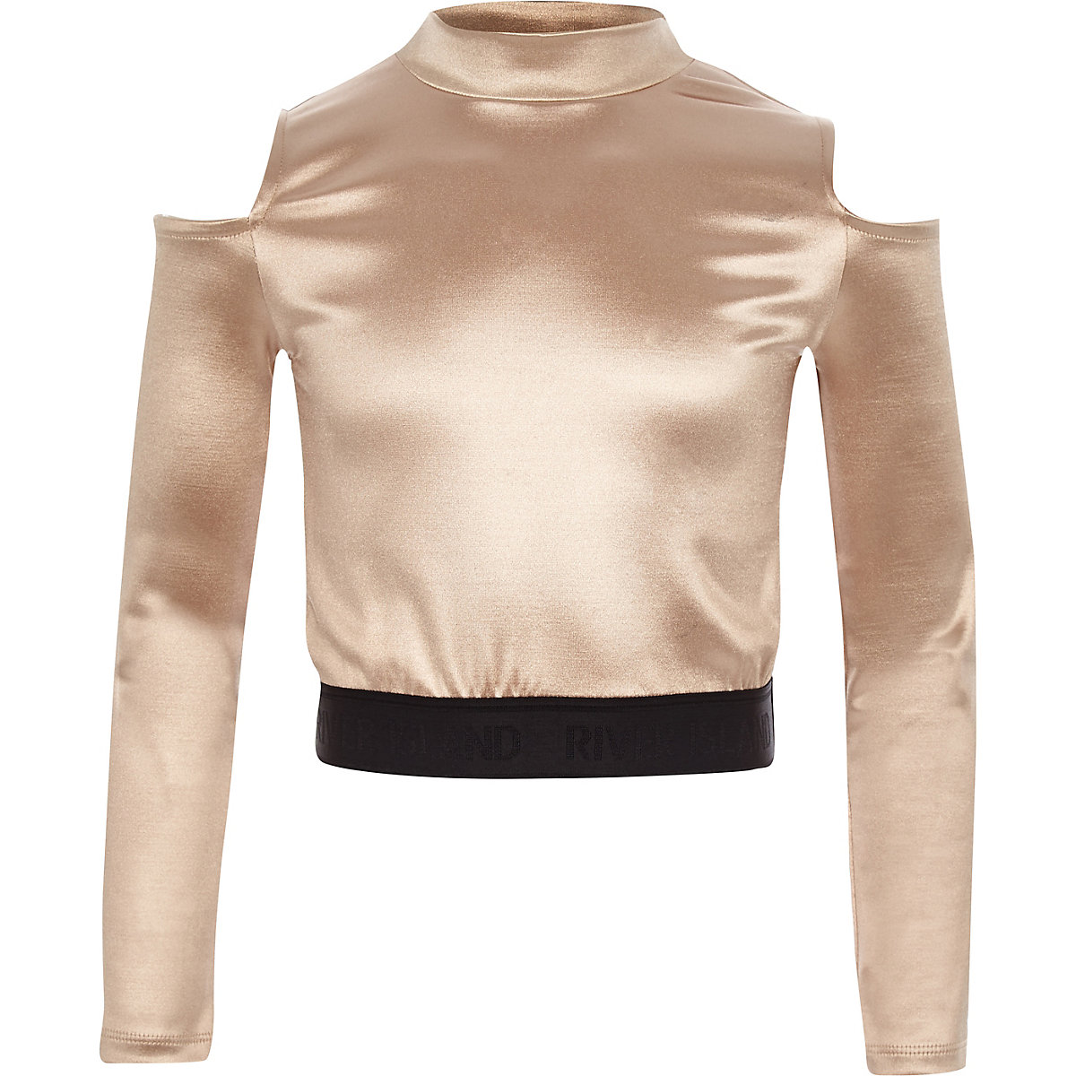 Girls RI Active pink cold shoulder disco top