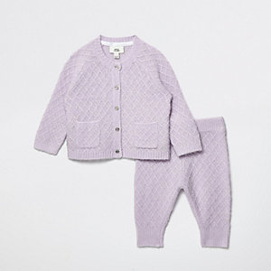 Baby purple angel wing knit outfit