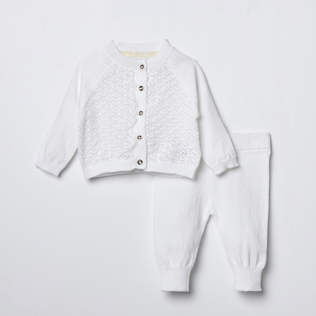 Baby cream knit cardigan outfit