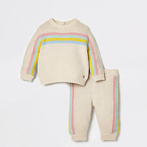 Baby cream rainbow stripe knit jumper outfit