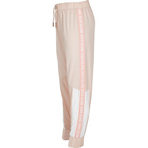 Girls RI Active pink block track joggers