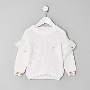 Mini girls white embroidered sweater