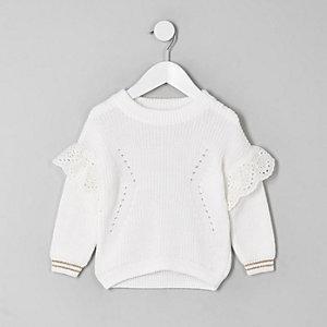 Pull blanc brodé mini fille