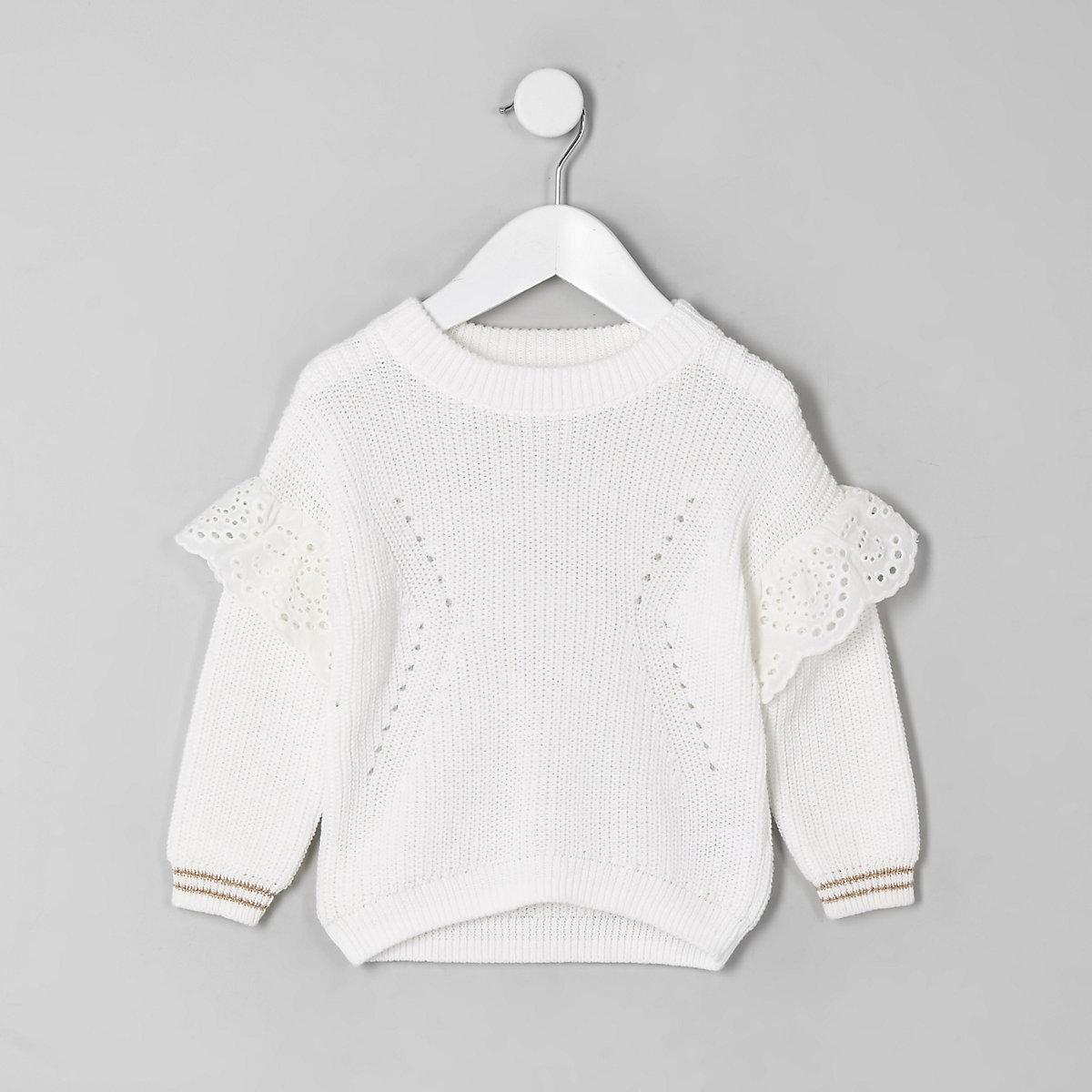 Mini girls white embroidered sweater