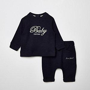 Ensemble avec sweat bleu marine à inscription « Couture » pour bébé