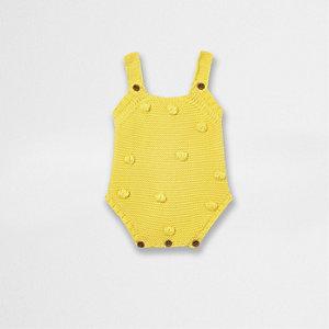 Barboteuse jaune à pompon pour bébé