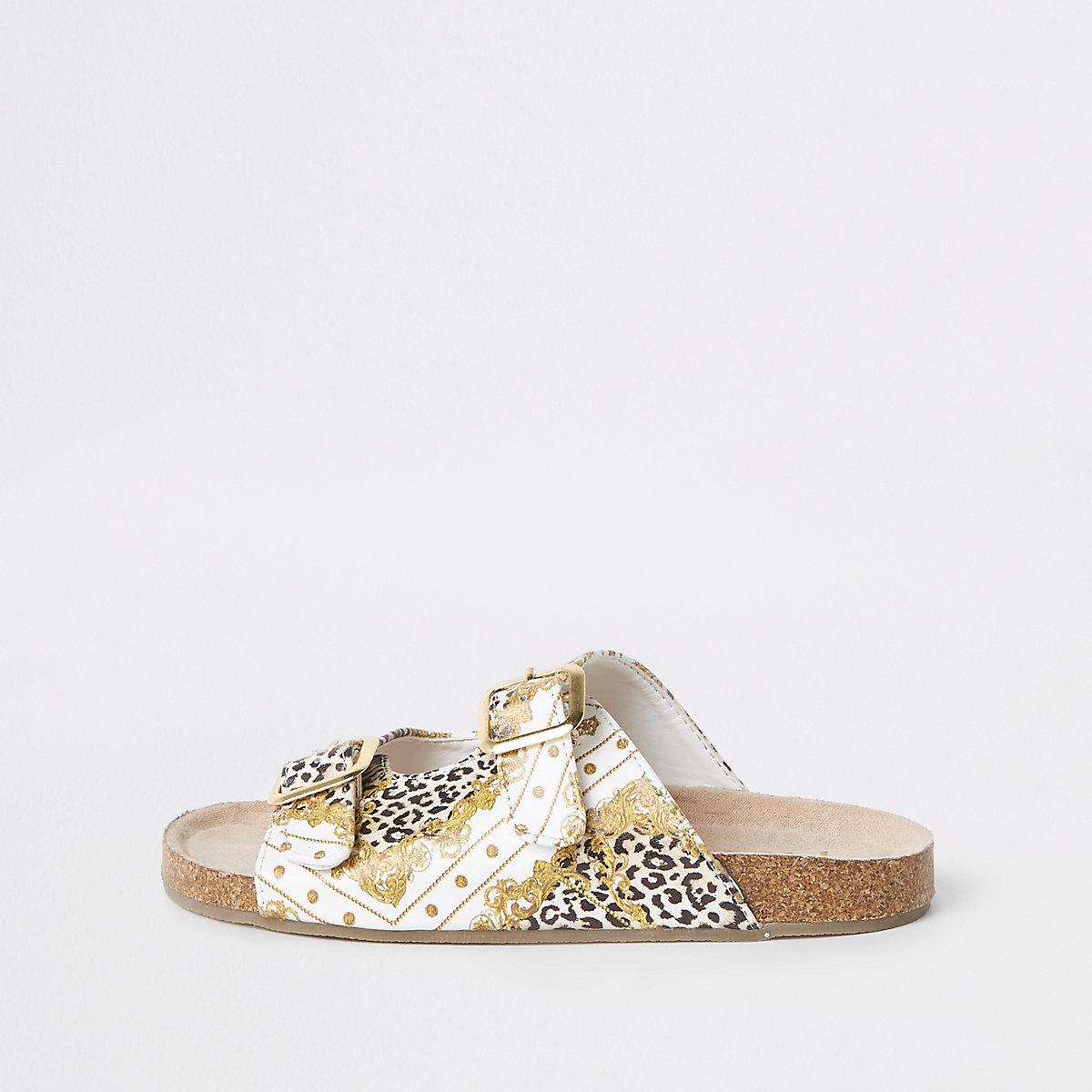 Girls brown baroque buckle sandals