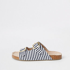 Girls navy stripe buckle sandals